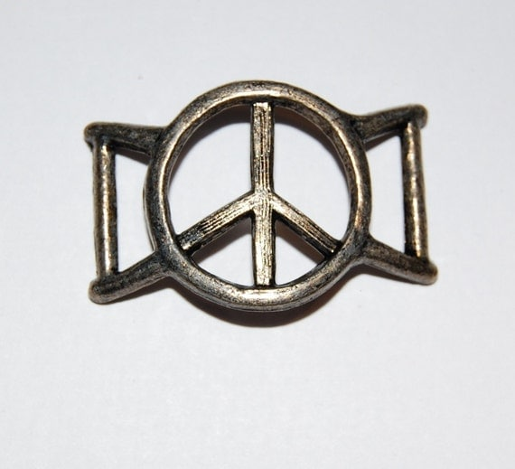 Vintage Metal Peace Sign Buckle or Chunky Slider mtl114B
