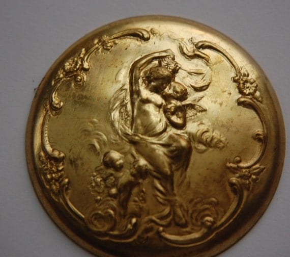 Vintage Brass Woman and Cherubs Medallion mtl264
