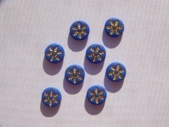 Vintage Blue and Gold Snowflake or Daisy Cabochons 6mm  cab205