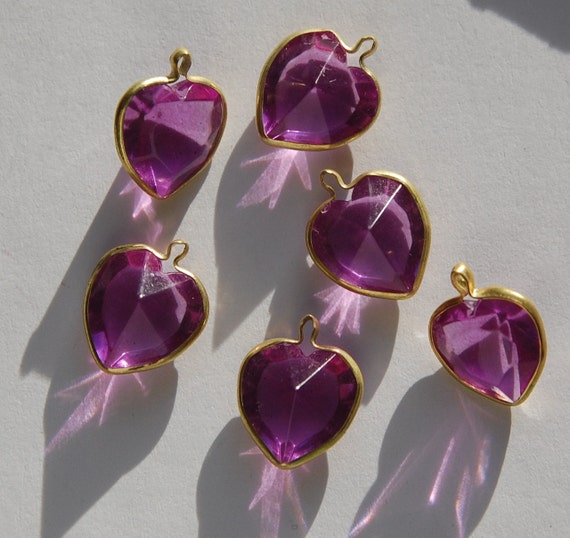 Brass Channel Set Faceted Amethyst Heart Acrylic Charms chr166A