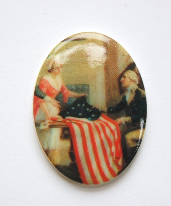 Vintage Patriotic Betsy Ross with Flag Cabochon 40x30mm cab378F