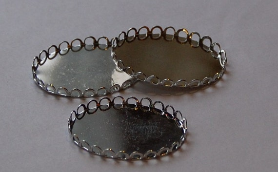 Silver Plated Lacy Filigree Edge Settings 40mm x 30mm (4) stn003G