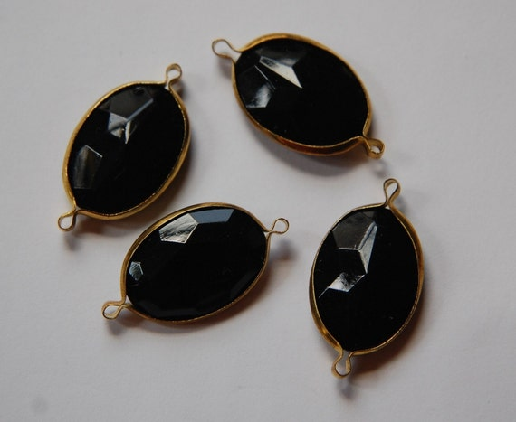 2 Loop Brass Channel Set Faceted  Black Acrylic Charms chr165D