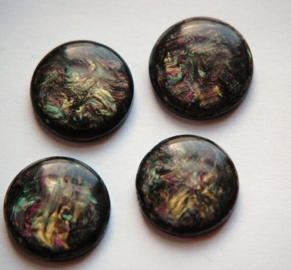 Metallic Swirled Black Green and Purple Cabochons 18mm cab770B