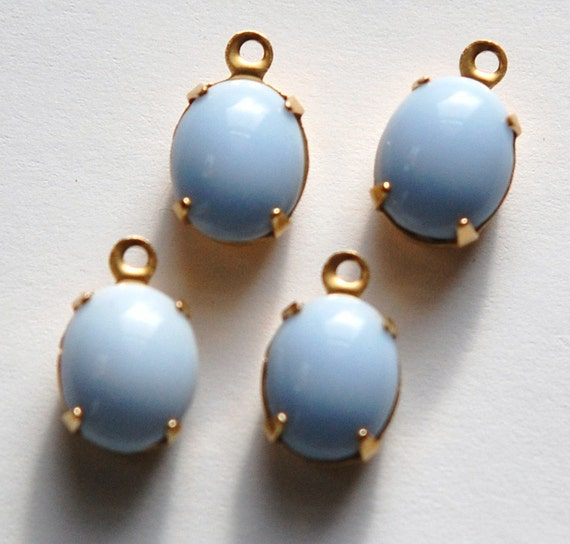 Vintage Opaque Light Blue Oval Stones in 1 Loop Brass Setting ovl005C