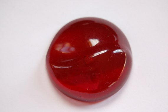 Vintage Red Acrylic Cabochon Wave Detail Italy 35mm cab789A