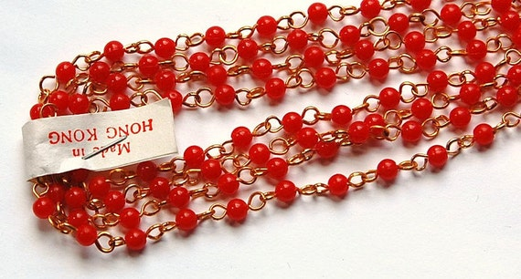 Vintage Hong Kong Red Plastic Beaded Chain Gold Links chn020G