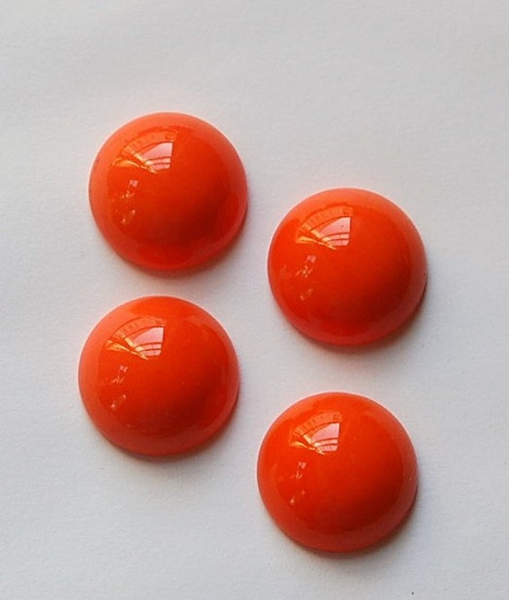 Vintage Opaque Orange Domed Glass Cabochons 15mm cab705T