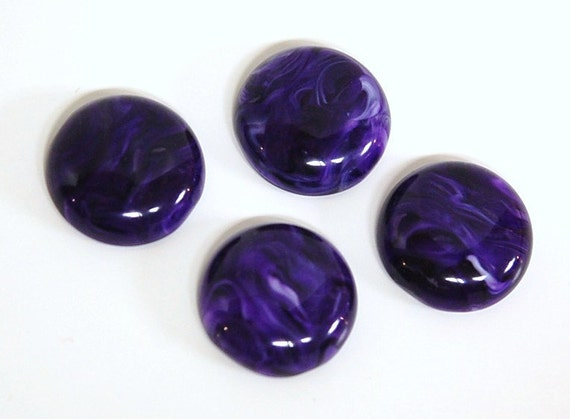 Vintage Purple and White Swirled Acrylic Cabochons 18mm cab182
