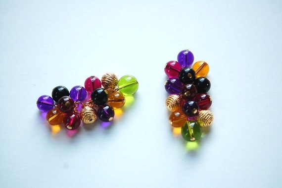 Vintage Acrylic Colorful Multiple Drop Bead Clusters drp094