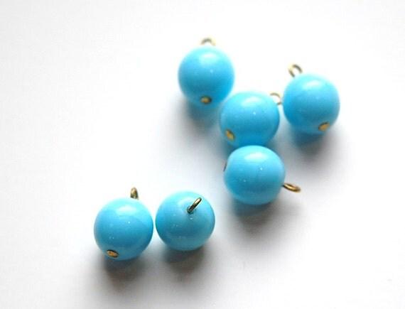 1 Loop Light Blue Smooth Glass Drops Czech Beads 10mm (6) drp087B