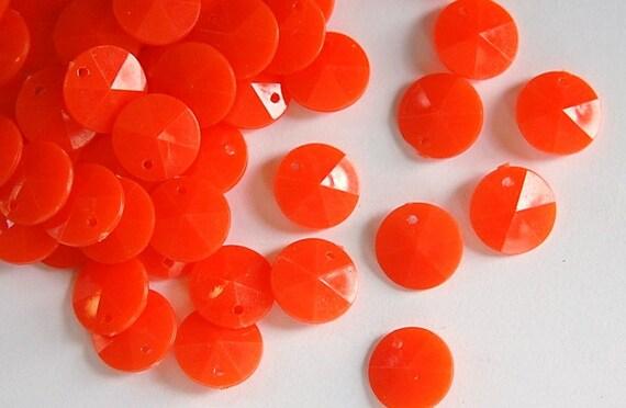 Vintage Faceted Orange Round Disk Charms Drops 12mm (15) chr026H