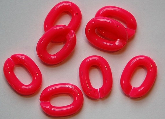 Vintage Plastic Connector Linking Links Bright Pink LG (25) bds605B
