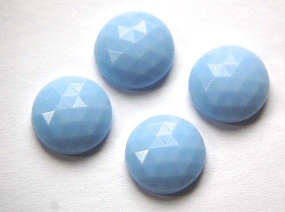 Vintage German Light Blue Faceted Glass Cabochon 17mm cab488D