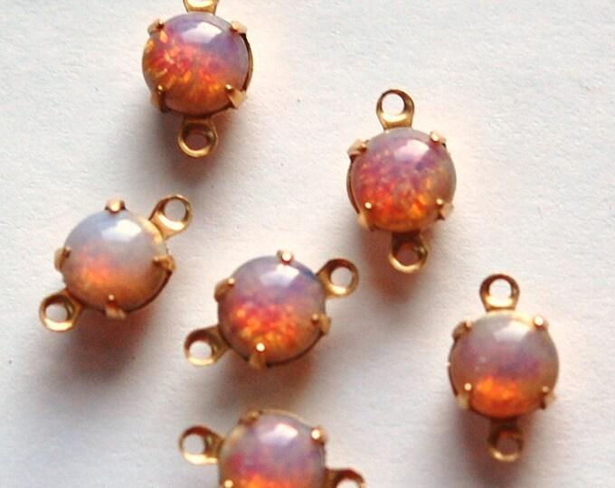 Vintage Opal Glass Stone Brass 2 Loop Brass Setting Drops rnd001C2