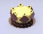 Dollhouse miniature food dessert Chocolate and lemon miniature gateau for dolls house or shop