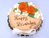 Orange birthday cake Dollhouse miniature food or suitable as birthday gift