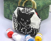 Black and white cat and patterned design Dollhouse miniature knitting work bag with 12 balls wool