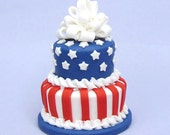 Two tier Stars and Stripes polymer clay Dollhouse miniature cake