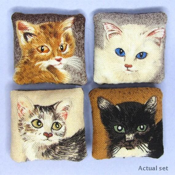 Set one Dollhouse miniature set of four purrrfect cat portrait pillows cushions for a dolls house