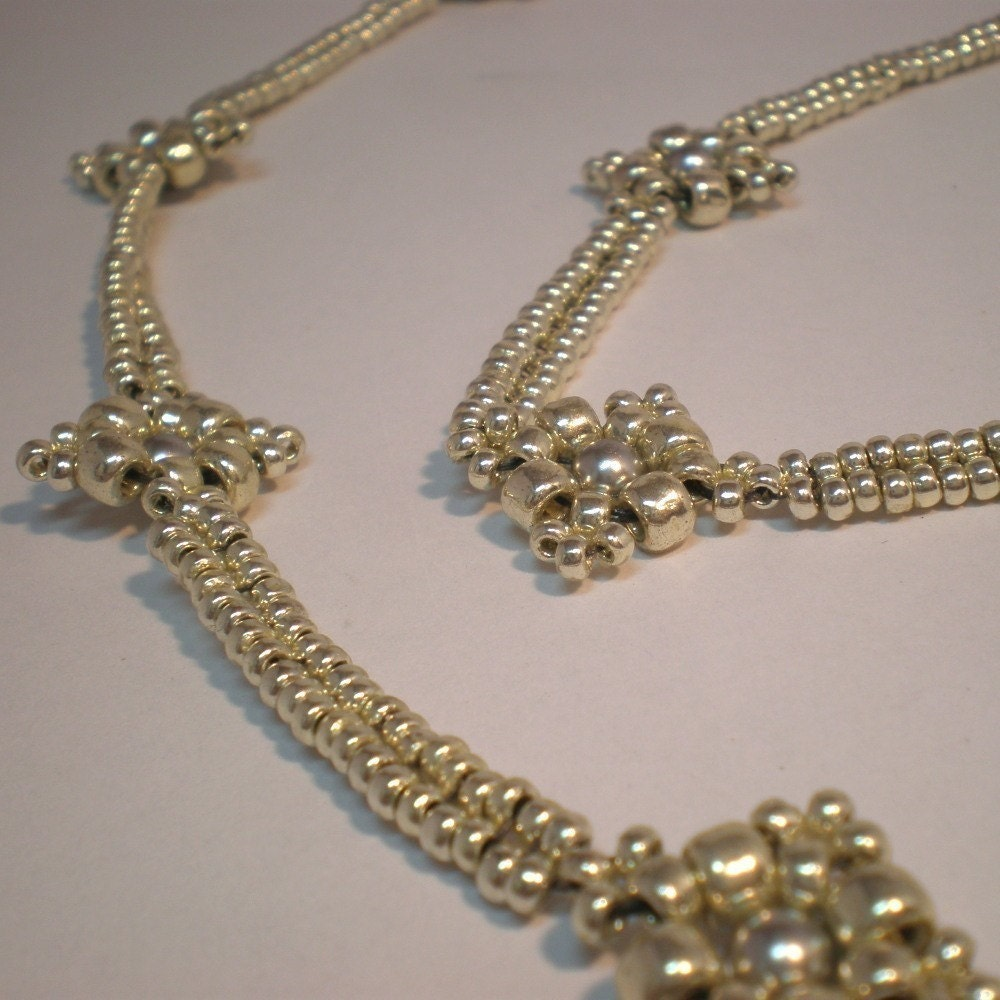 Beaded Diamond: Lacy Diamonds PDF Pattern Beading Tutorial Beadweaving