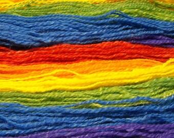 Rainbow Handspun Wool and Mohair Yarn 330yds 2ply