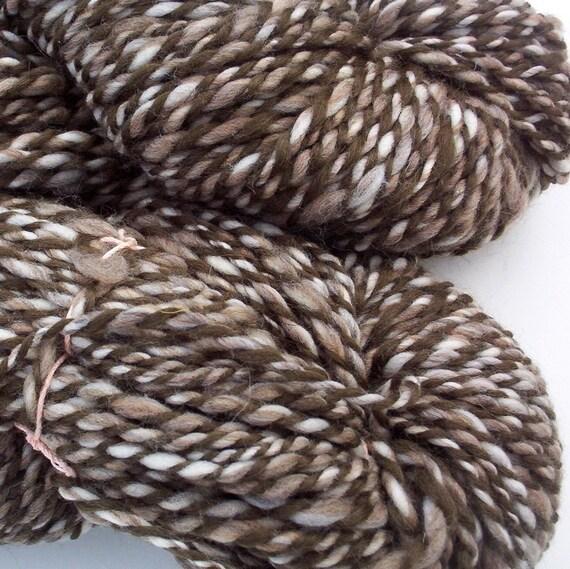 Shades of brown hanspun wool yarn Two skeins totaling 286yds