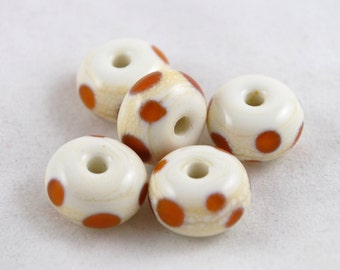 BEAD SALE!  Handmade Lampwork Glass Bead Set - Ivory, amber