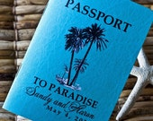 Deposit - Passport Invitation or Save the Date (Sandy's Palm Tree on Faux Leather Canadian Passport)