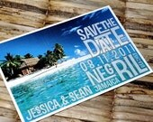 Save the Date Postcard - Vintage Beach Cabana - Deposit and Design Fee
