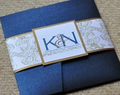 Pocket Fold Wedding Invitation Design Fee (Antique Gold and Navy Whimsy Design)