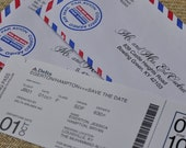Boarding Pass Invitation or Save the Date Design Fee (Travel Ticket with Air Mail Envelope)