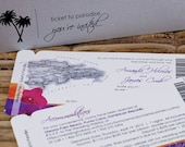 Boarding Pass Invitation or Save the Date Design Fee (Vintage Map, Fuschia and Tangerine Orchids)