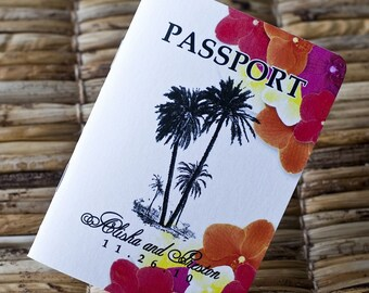 Save the Date Wedding Passport Design Fee (Tropical Palms and Flowers)