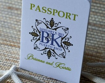 Save the Date Wedding Passport Design Fee (Monogram Flourish Design)
