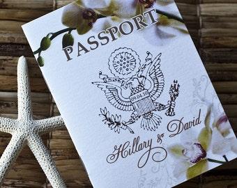 Save the Date Wedding Passport Design Fee (Elegant Orchid Flourish)