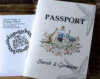 Passport Wedding Invitation Design Fee (Australia Emblem with Starfish Design)