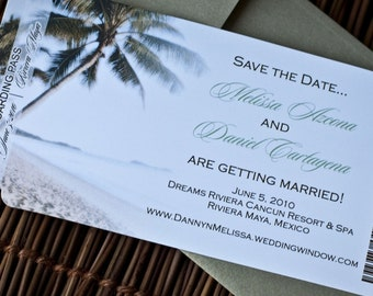 Boarding Pass Invitation or Save the Date Design Fee (Palm Tree on the Beach Design)