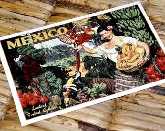 Save the Date Postcard - Vintage Mexico Senorita - Deposit and Design Fee