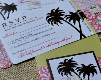 Boarding Pass Invitation or Save the Date Design Fee (Coral Damask, Chocolate Palms wth Lime)