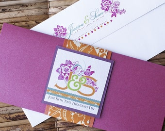 Boarding Pass Invitation or Save the Date Design Fee (Bright Damask Flourish Design)