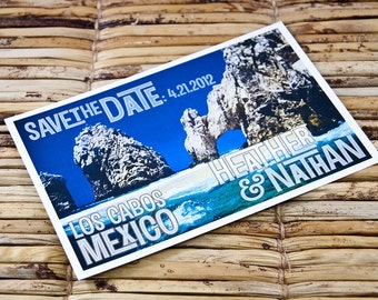Save the Date Postcard - Cabo San Lucas El Arco - Deposit and Design Fee