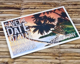 Save the Date Postcard - Ombre Sunset - Deposit and Design Fee