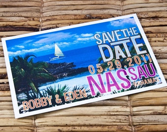 Save the Date Postcard - Tropical Lagoon - Deposit and Design Fee