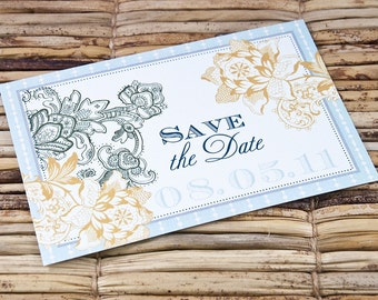 Save the Date Postcard - Vintage Floral Graphic - Deposit and Design Fee