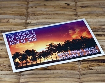 Save the Date Postcard - Palm Tree Sunset - Deposit and Design Fee