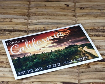 Save the Date Postcard - California Wine Country - Deposit and Design Fee