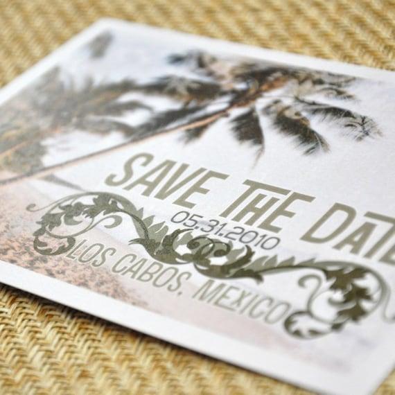 Save the Date Postcard - Beach Flourish - Deposit and Design Fee