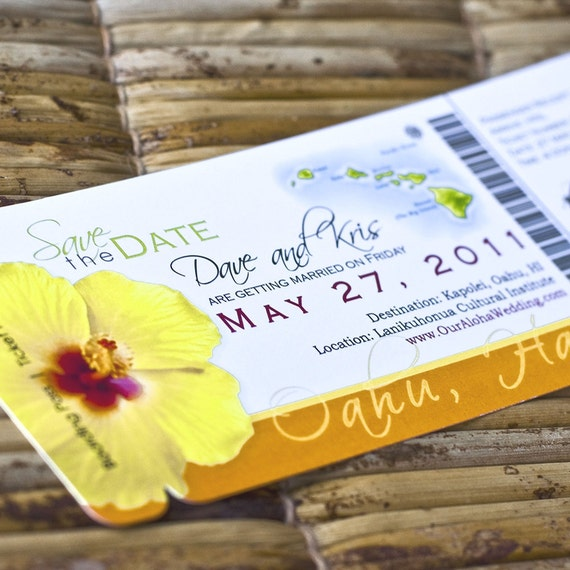 Boarding Pass Invitation or Save the Date Design Fee  (Kristin's Orange / Yellow Hibiscus Hawaii Map Design)