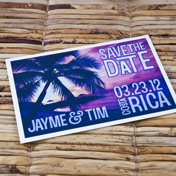 Save the Date Postcard - Vintage Purple Sunset - Deposit and Design Fee